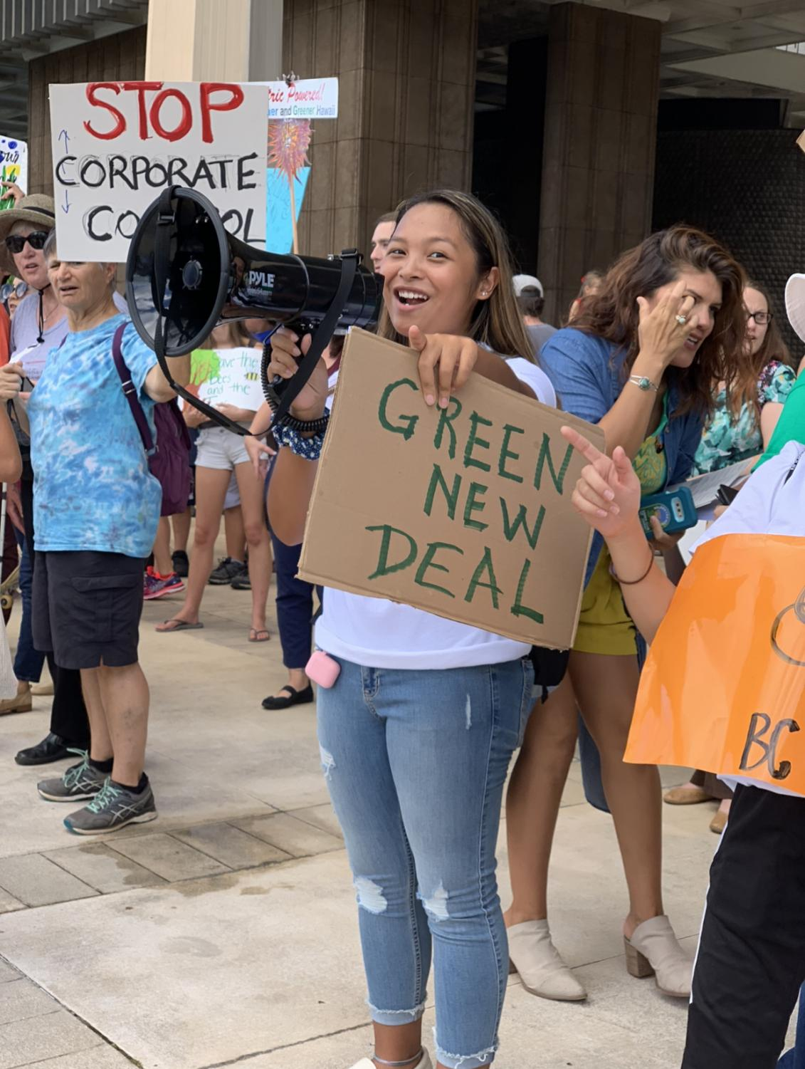 Cayla Pabo (12), leads a chant at the Youth Climate Strike held at the State Capitol on September 20th, 2019. Pabo is currently the President of the MoHS Club Terra.