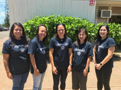 Moanalua alpha counselors (left to right):Mrs. Ladao (Fb-K), Mrs. Yamamoto (L-Ra), Mrs. Rhodes (CSAP Outreach counselor), Mrs. Oka (A-Fa) and Mrs. Tongg (Re-Z).