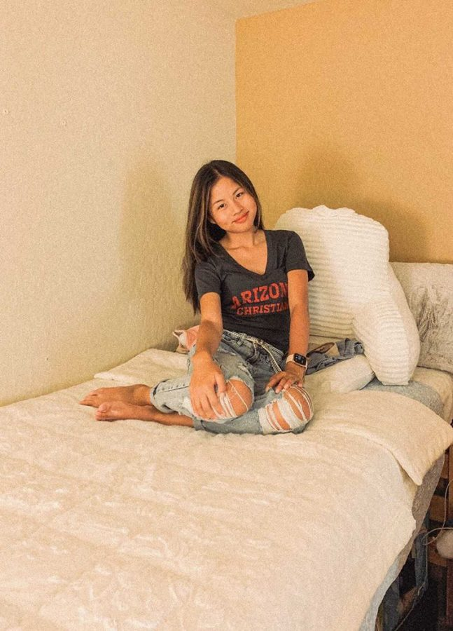 Lyrah Panarigan in her dorm room at Arizona Christian University.