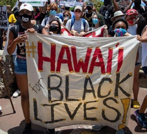 Members of Hawaii for Black Lives during a protest in Waikiki