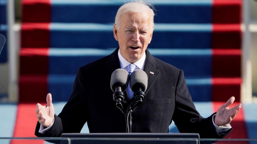 Biden gives his inauguration speech at the Capitol.