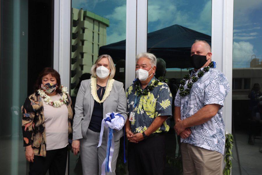 From left to right: DOE Deputy Superintendent Phyllis Unebasami, Principal Robin Martin, Asst. Superintendent for Facilities Randall Tanaka, & Aiea/Moanalua/Radford Complex Area Superintendent John Erickson.