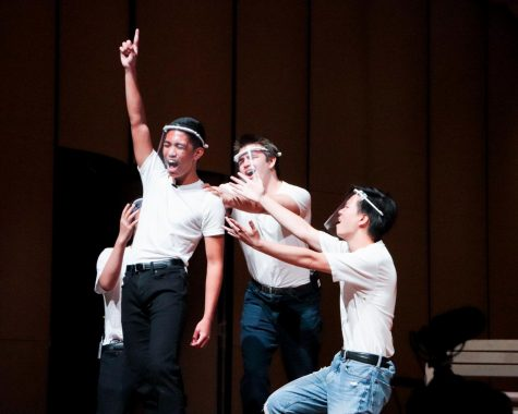 """Senior Brandon Ramos and fellow Beginning Acting students performing excerpts from the musical """"Grease."""