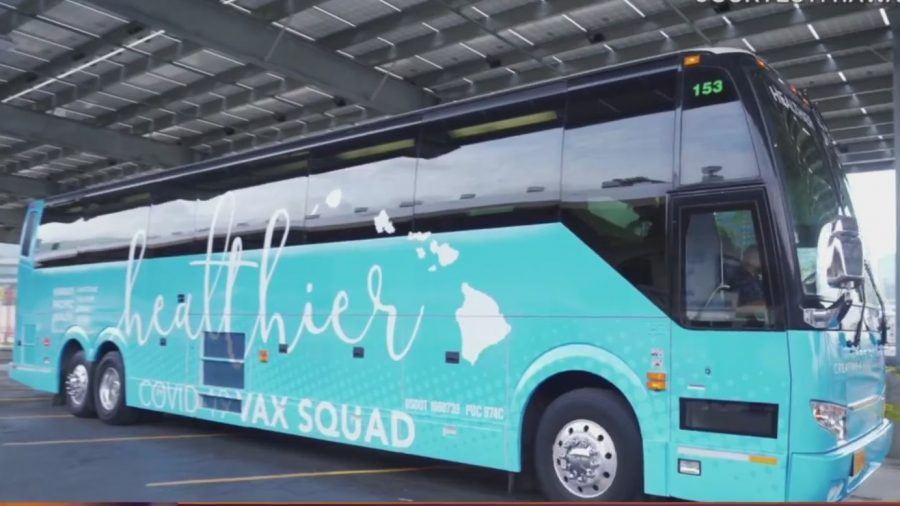 Hawaii Pacific Health's COVID-19 Vax Squad Bus is visiting schools across the island to raise inoculation raise.